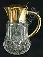 CUT GLASS PITCHER W/CENTER ICE HOLDER; SILVER