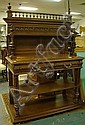CARVED OAK 2 DRW SIDEBOARD W/INSET RED MARBLE TOP