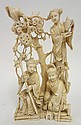 CHINESE CARVED IVORY GROUP; TWO ELDERS SITTING AT
