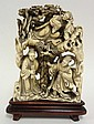CHINESE CARVED IVORY FIGURAL GROUP; ALLEGORICAL