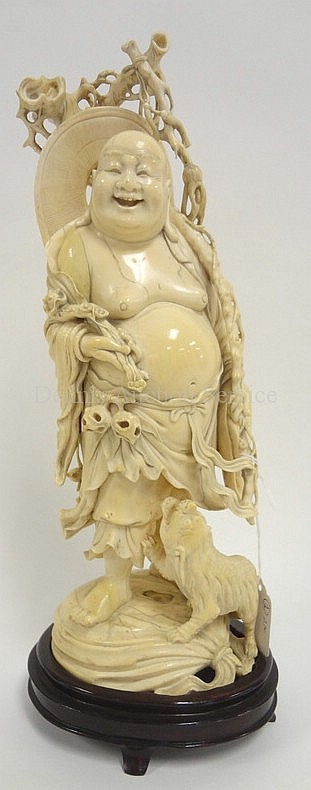CHINESE CARVED IVORY FIGURE OF A BUDAI W/A FOO DOG