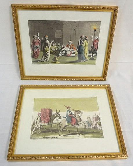 2 HAND COLORED PRINTS IN MATCHING FRAMES; *WOMEN