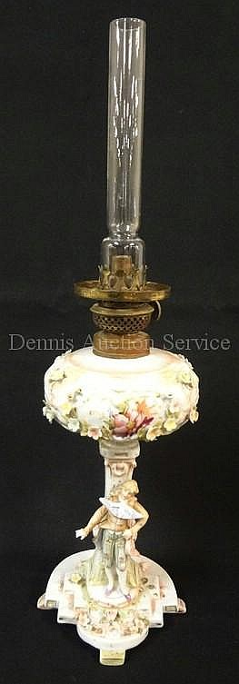 HAND PAINTED DRESDEN TUP LAMP W/FIGURAL STEM &