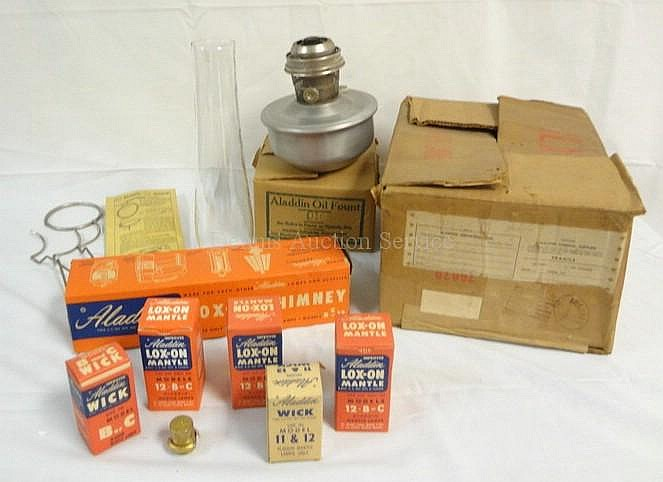 1921 ALADDIN LAMP W/ALL ORIGINAL PACKAGING; FONT,