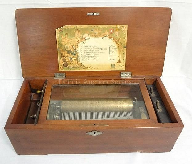 8 TUNE CYLINDER MUSIC BOX IN WOODEN CASE
