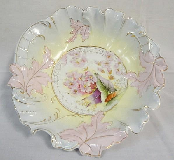 RS PRUSSIA TYPE BOWL W/FLOWERS & LEAVES; 10 1/4 IN