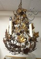 WROUGHT IRON CHANDELIER W/GRAPES & LEAVES; 21 IN H