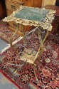 FANCY CAST IRON STAND W/BRASS LEGS, CLAW FEET & INSET GREEN MARBLE TOP
