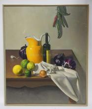TIM SNOWDON OIL ON CANVAS STILL LIFE PAINTING. HAS SOME SCRATCHES & LOSSES. 30 X 36 INCHES.