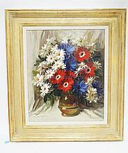 RUDOLPH COLAO (1927-) OIL PAINTING ON MASONITE STILL LIFE OF FLOWERS. ARTIST BIO ON VERSO. 22 X 26 INCHES.