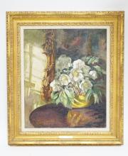 LUCY MARGARET FROBISHER OIL PAINTING ON CANVAS. STILL LIFE OF WHITE FLOWERS. 19 1/2 X 23 1/2 INCHES.