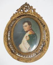 HAND PAINTED MINIATURE PORTRAIT OF NAPOLEON IN A BRONZE FRAME. 2 1/2 X 3 1/4 INCHES.