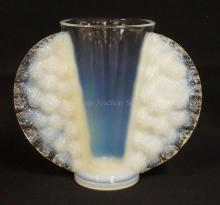 PIERRE D'AVESN OPALESCENT ART GLASS VASE. 7 3/4 INCHES TALL. HAS SOME SCRATCHING AND A TINY NICK ON THE BASE. SIGNED IN BLOCK LETTERING *MADE IN FRANCE* AND *P. D'AVESN*.