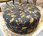 ROUND OTTOMAN W/PLEATED UPHOLSTERY; 30 IN DIA