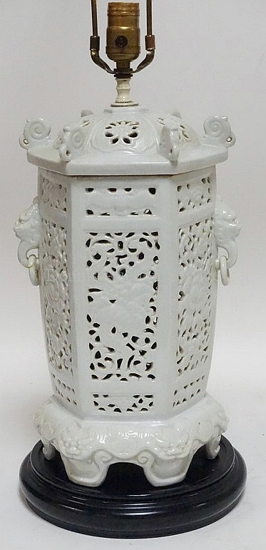 WHITE PORCELAIN LAMP IN THE FORM OF A CHINESE LANTERN; 33 1/2 IN H