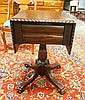 MAHOGANY CLAW FOOT DROP LEAF 2 DRW STAND; CARVED