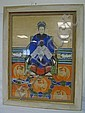 LARGE FRAMED ORIENTAL WATERCOLOR; SEATED FIGURE,