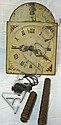 HAND PAINTED WOODEN FACE WALL CLOCK W/WEIGHTS; 16