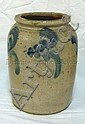 BLUE DECORATED STONEWARE JAR; 8 1/2 IN H