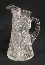DEEP BRILLIANT CUT GLASS PITCHER. 10 1/4 IN H