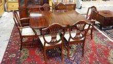 MAHOGANY 9 PC DINING ROOM SET. CHINA CABINET IS 44 IN WIDE.