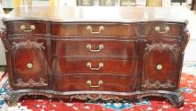CARVED MAHOGANY 5 PC BEDROOM SET. TALL CHEST 42 IN WIDE, LOW CHEST 65 IN WIDE, 2 NIGHT STANDS, BED.