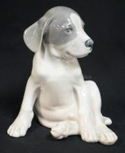 ROYAL COPENHAGEN #259 SITTING PUPPY FIGURE. 7 3/4 IN TALL.