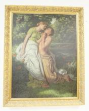 LITHO OF TWO LOVERS BY A POND & TREES. 27 X 35 1/2 IN.