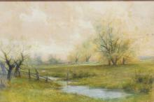 WATERCOLOR PAINTING OF A STREAM BY SOME TREES. SIGNED *C BAKER* 13 X 8 3/4 IN.
