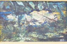 OIL ON BOARD BY XAVIER GONZALEZ TITLED *BOSQUEJO* 1961. 8 X 5 IN.