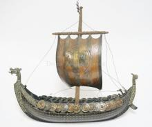 BRASS NORWEGIAN SAILING SHIP MADE BY *IRON ART, COPENHAGEN DENMARK*. 16 IN LONG. 14 IN HIGH.