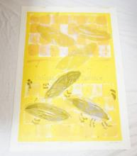 PENCIL SIGNED MODERN ART PRINT. ARTISTS PROOF, SIGNED *HOLLAENDER* AND TITLED *LILY POND LOTUS*. 19 X 27 IN.