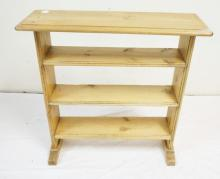 4 TIER PRIMITIVE PINE SHELF. 28 1/2 X 10 IN TOP. 29 IN TALL.