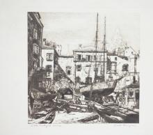 ETCHING BY LIONEL BARRYMORE & TITLED *LITTLE BOATYARD, VENICE*. 8 X 8 IN.