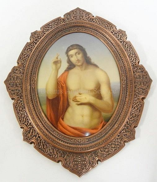 PAINTING ON PORCELAIN OF JESUS IN AN ORNATE COPPER