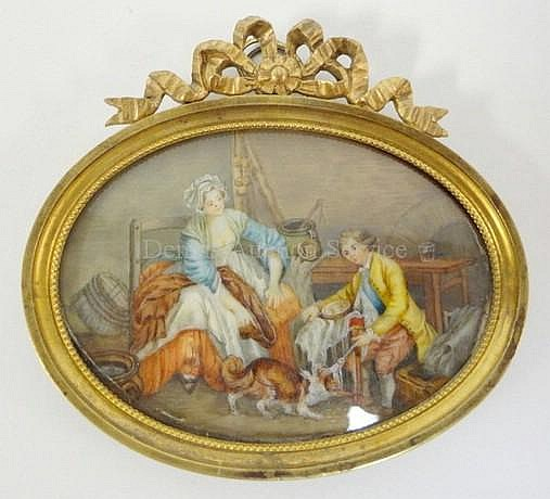 MINIATURE OVAL PAINTING ON IVORY OF A MOTHER, SON