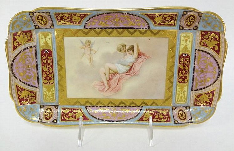 GERMAN PORCELAIN HAND PAINTED TRAY W/HP MAN, WOMAN