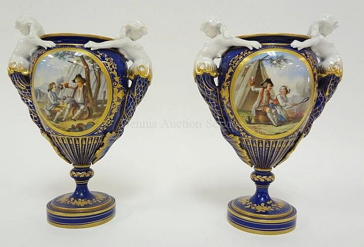 PR OF SEVRES HAND PAINTED BOLTED URNS W/MERMAID