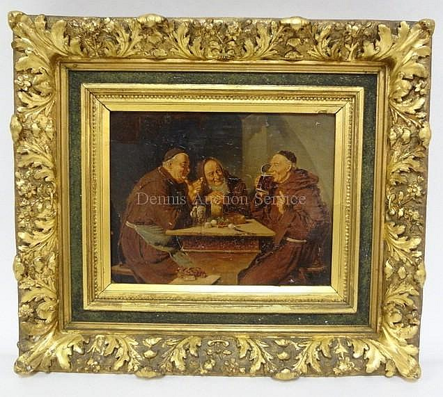 FRAMED O/C OF 3 MONKS DRINKING AT A TABLE; SOME