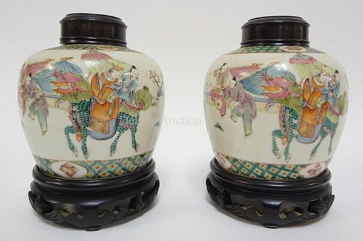 PR OF CHARACTER SIGNED ORIENTAL JARS W/CARVED