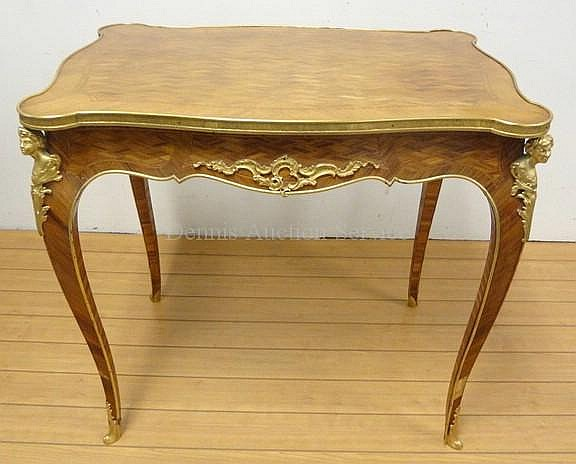 BRONZE MTD, BANDED & INLAID FRENCH WRITING TABLE;
