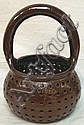 BROWN GLAZED STONEWARE PERFORATED BASKET; US