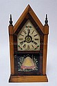 STEEPLE CLOCK W/REVESE PTD BEEHIVE ON THE DOOR; 8