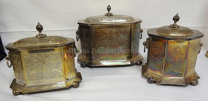 GROUP OF 3 BALL FOOTED SILVER PLATED CADDIES; LARGEST 9 IN W, 7 1/4 IN H