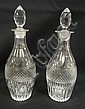 PR OF BLOWN & CUT DECANTERS W/ORIGINAL CUT STOPPERS; 9 1/4 IN H