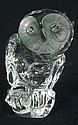 DAUM, FRANCE FROSTED & CRYSTAL OWL; 4 7/8 IN H