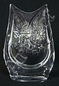 SIGNED DAUM FRANCE CRYSTAL OWL; 5 1/2 IN H