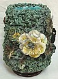 MAJOLICA VASE W/APPLIED GRASS, FLOWERS, SHELLS,
