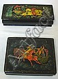 2 RUSSIAN ENAMEL BOXES W/HORSE DRAWN SLEIGHS;