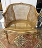 FLORAL CARVED BARREL BACK CANED CHAIR; SIDE PANELS